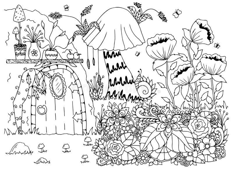 Vectorillustratie zentangl huis in het hout, bloemen Vectoreps 10 vector illustratie