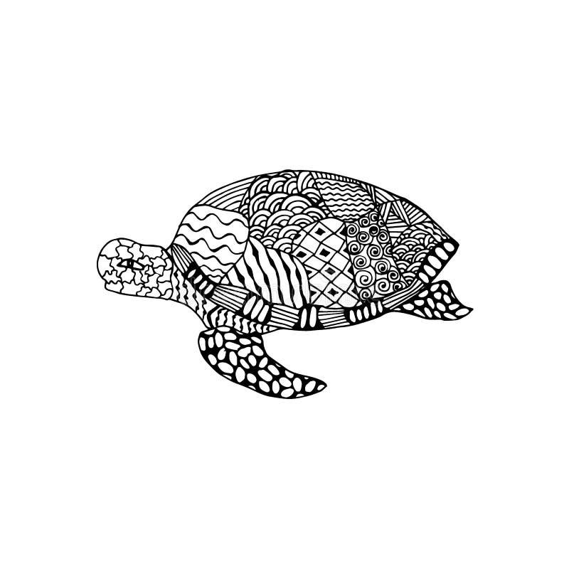 Vectorillustratie zentangl, schildpad met een wijzer aan Gelukkig bloemenkader Vectoreps 10 royalty-vrije illustratie