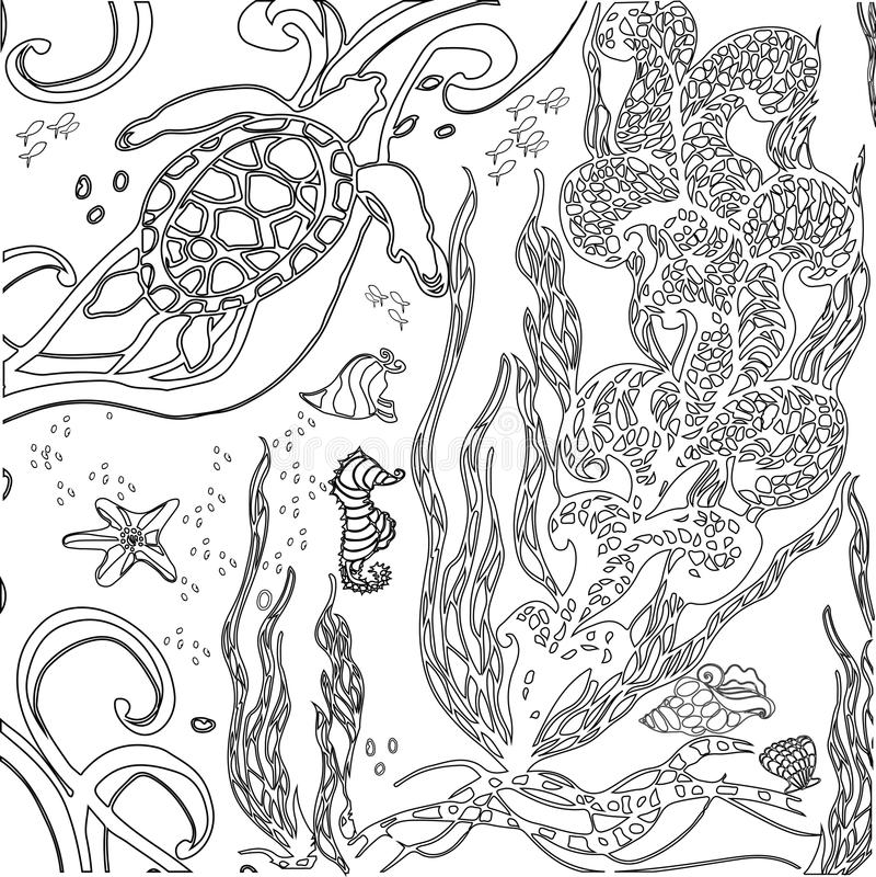 Vectorillustratie zentangle onderwaterwereld Krabbeloverzees, ocea royalty-vrije stock afbeeldingen