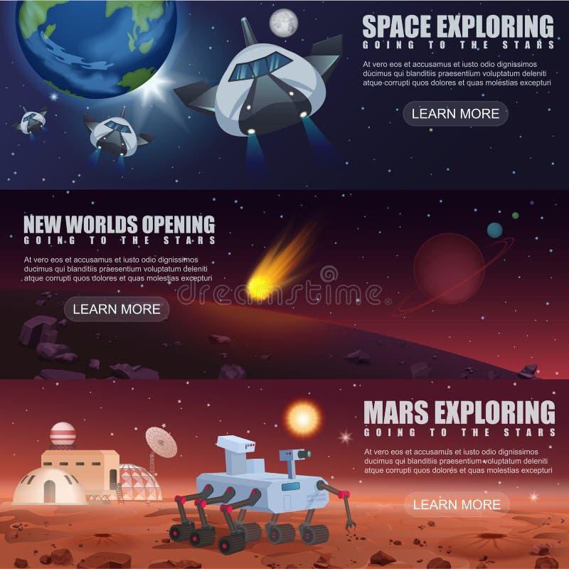 Vectorillustratiebanners van de exploratie van ruimtevluchtspaceships, vreemde planeten in kosmische ruimte, de zwerver van melkw stock illustratie
