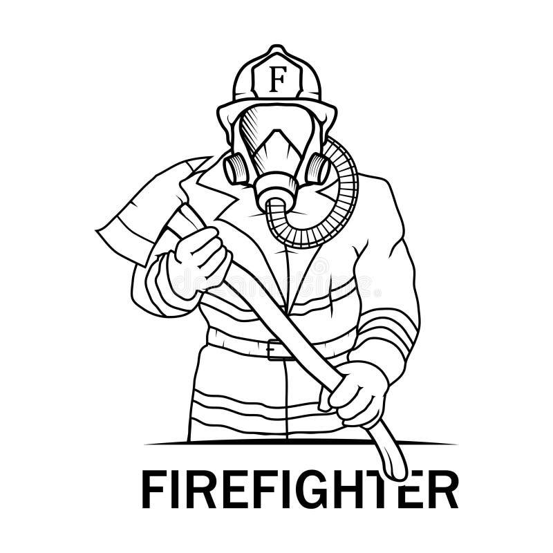 Vectorillustratiebrandbestrijder Brandbestrijder Logo royalty-vrije illustratie