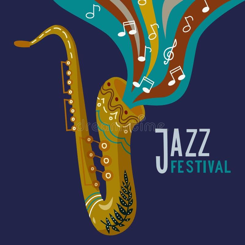 Vectorillustratieconcept abstract muzikaal ontwerp als achtergrond met saxofone en nota's, jazzfestival het van letters voorzien royalty-vrije illustratie