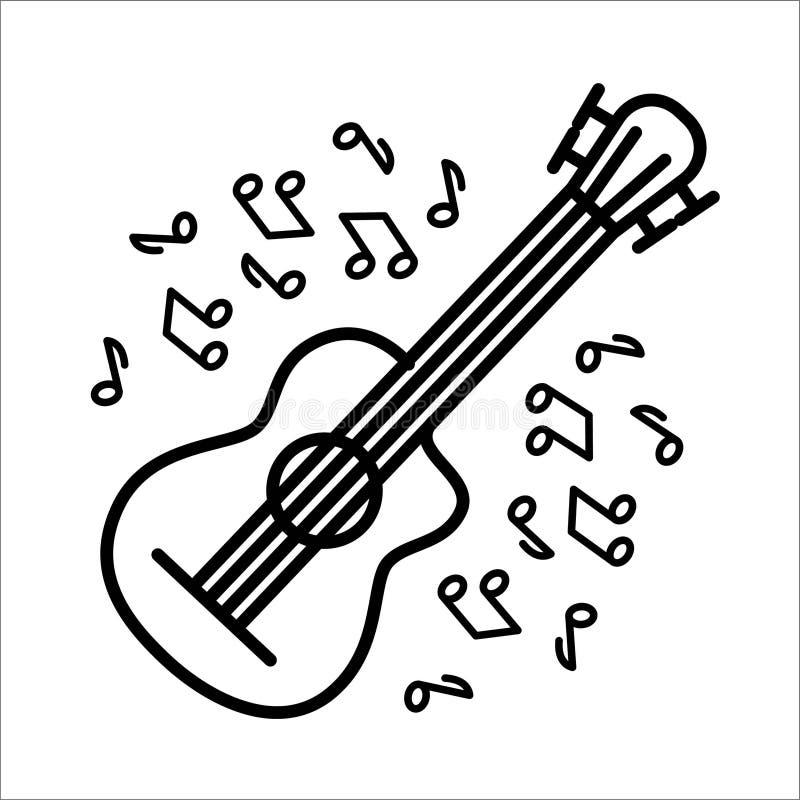 Vectorillustratieconcept de muziekinstrument van de fluitgitaar Zwarte op witte achtergrond stock illustratie