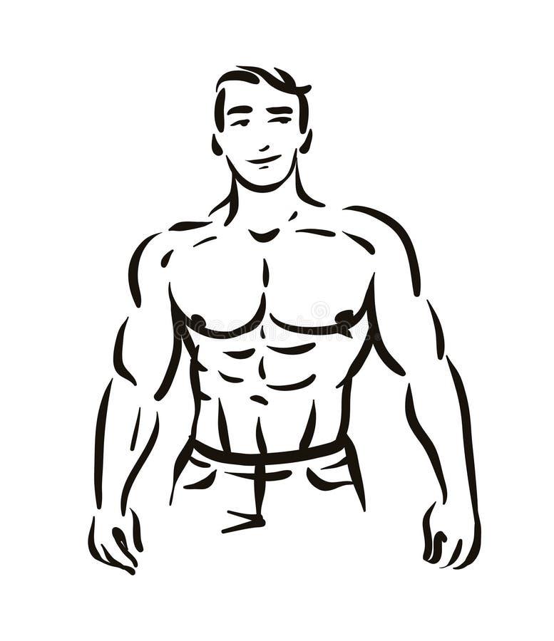 Vectorillustratieconcept het cijfersilhouet van de Mensenbodybuilder Zwarte op witte achtergrond vector illustratie