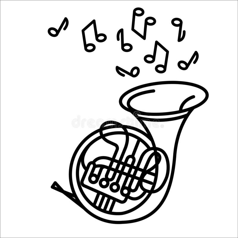 Vectorillustratieconcept het Franse instrument van de hoornmuziek Zwarte op witte achtergrond stock illustratie