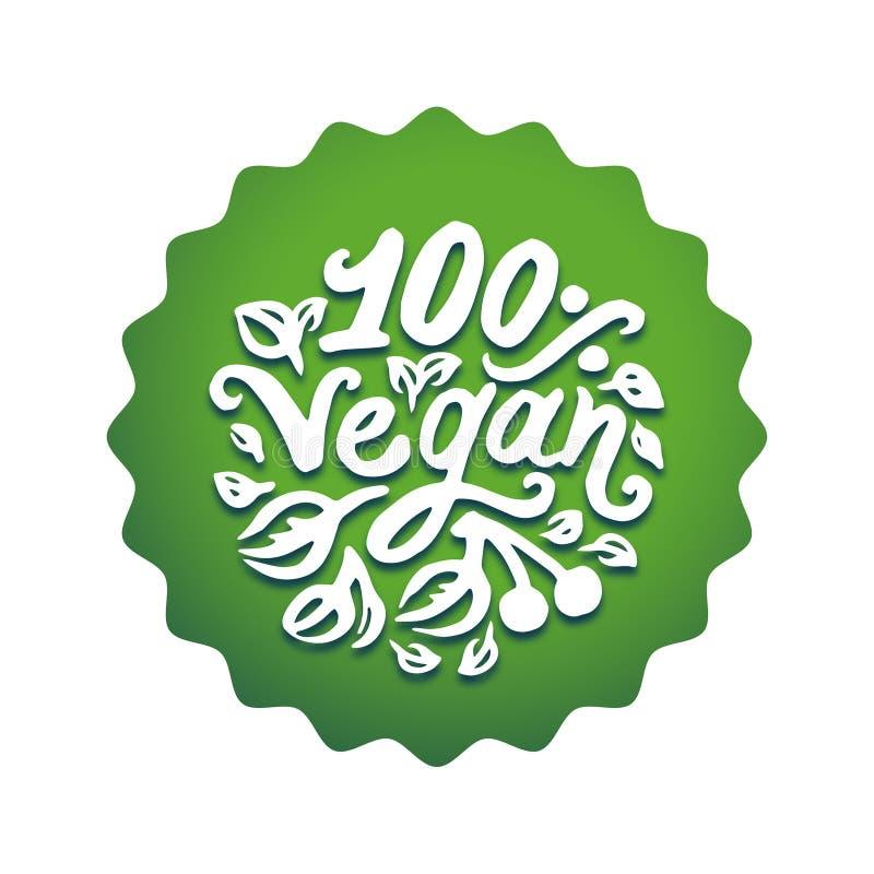 Vectorillustratieconcept het groene van letters voorziende pictogram van het Veganistwoord stock illustratie