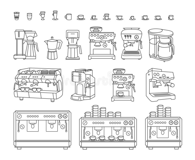 Vectorillustratieconcept Koffiemachine Zwarte op witte achtergrond royalty-vrije illustratie