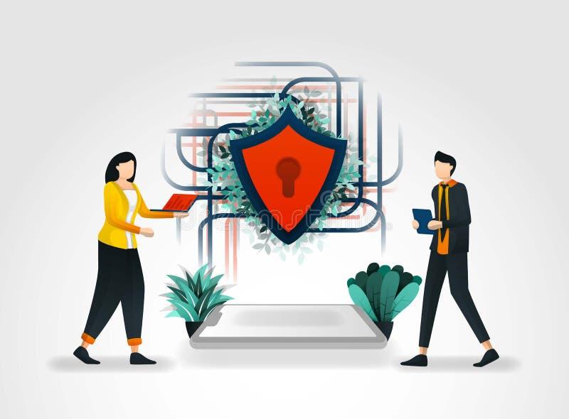Vectorillustratieconcept Mensen die tot gegevens bij de verbinding van Internet en van het schildenbeveiligde netwerk toegang heb royalty-vrije illustratie