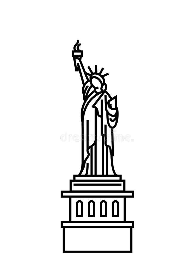 Vectorillustratieconcept Standbeeld van Vrijheidspictogram Zwarte op witte achtergrond vector illustratie