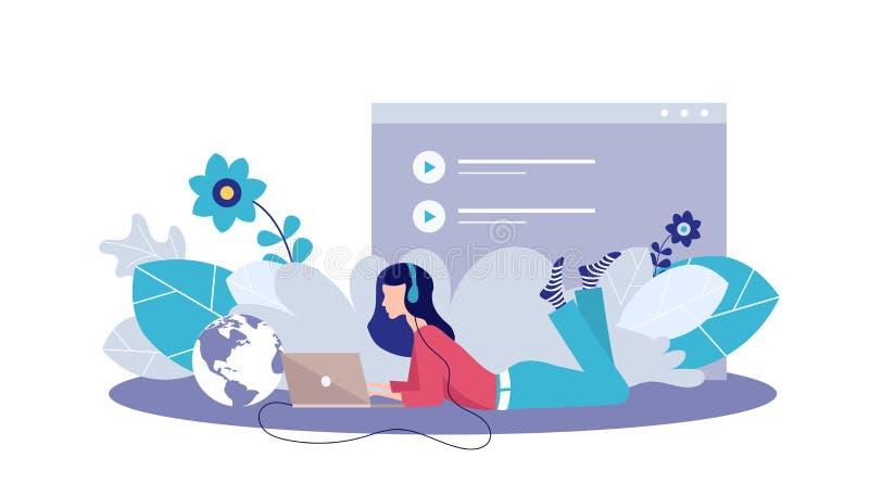 Vectorillustratieconcept vermaak, muziektoepassingen, playlist, online liederen, radiostations Creatief vlak ontwerp voor stock illustratie