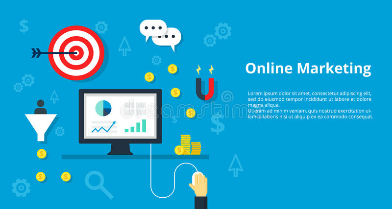 Vectorillustratieconcept voor beheer, strategie die, online, inetnet adverterend met pictogrammen reeks van het moderne bedrijfsw stock illustratie