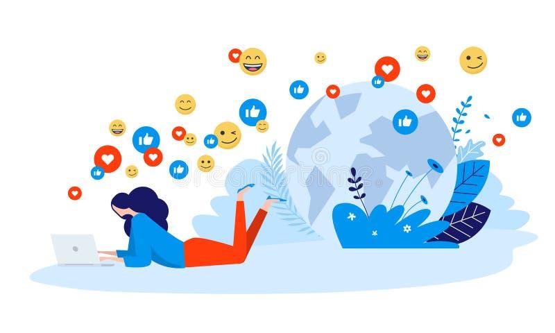 Vectorillustratieconcept voorzien van een netwerk, online mededeling, Internet-gemeenschap royalty-vrije illustratie