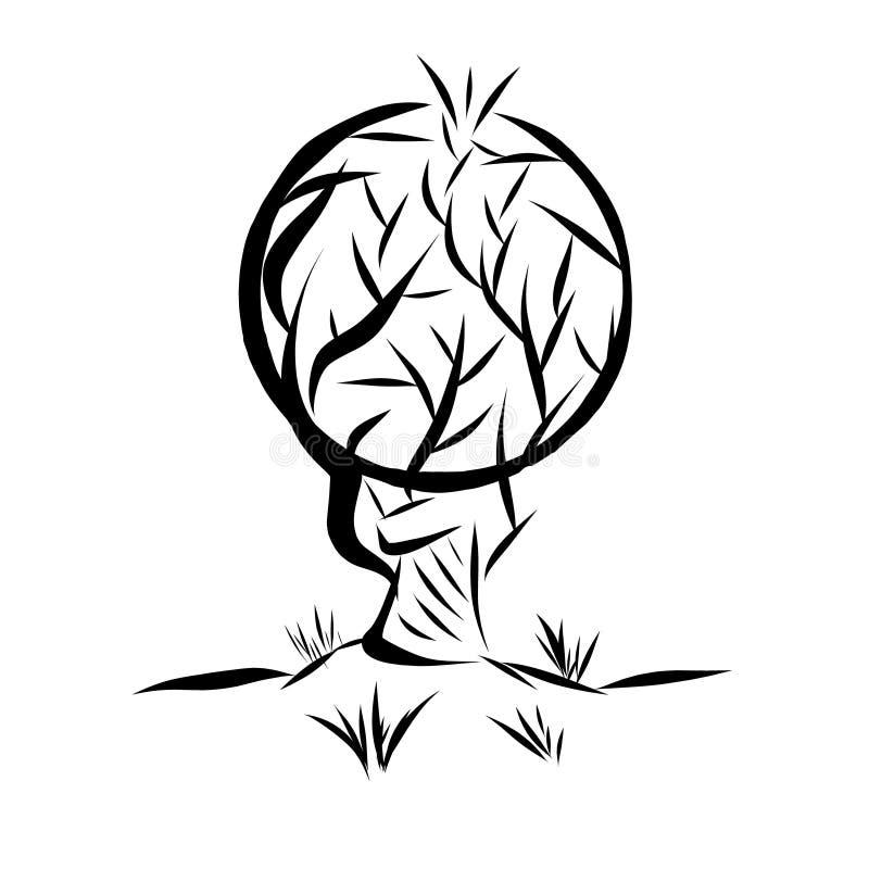 Vectorillustratieembleem in de vorm van een abstracte boom met een ronde die kroon door leeswijzers op een witte achtergrond word royalty-vrije illustratie