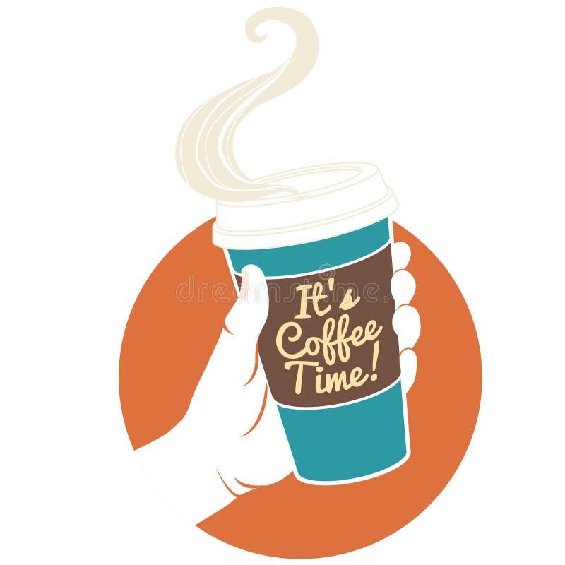 Vectorillustratiehand die beschikbare koffiekop houden Cardboar royalty-vrije illustratie