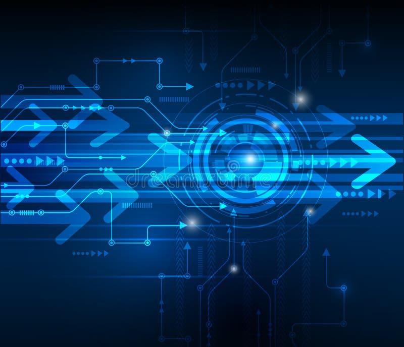 Vectorillustratiehi-tech blauwe abstracte technologieachtergrond