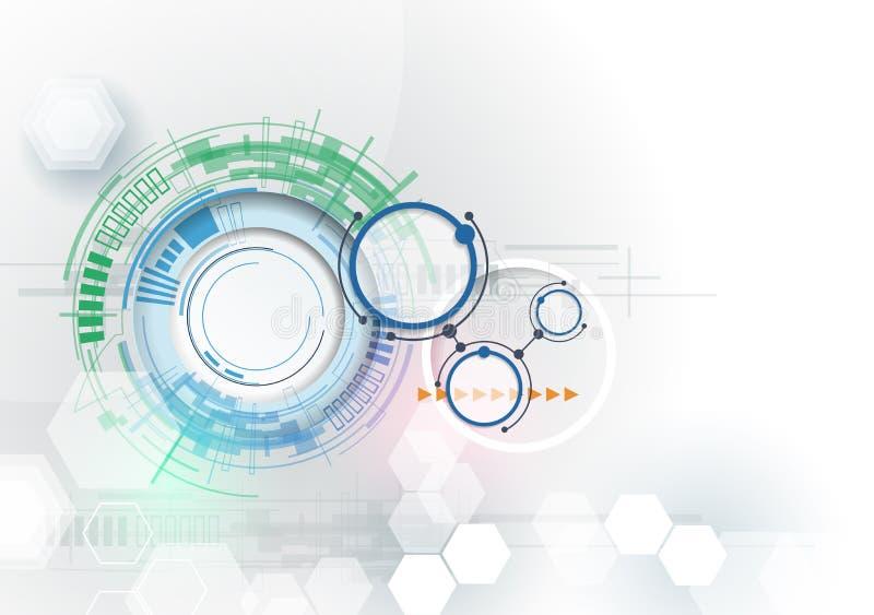 Vectorillustratiehi-tech digitale technologietechniek Integratie en innovatietechnologieconcept