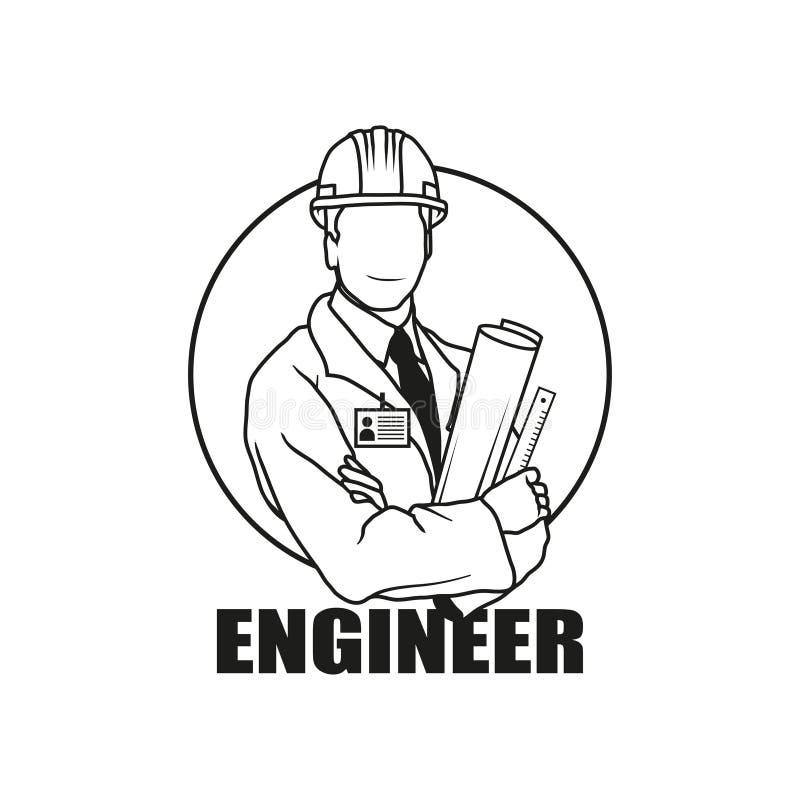 Vectorillustratieingenieur Man Ingenieur Man Logo stock illustratie