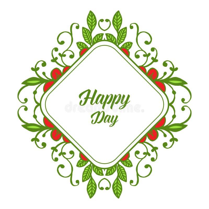 Vectorillustratiekroon van vierkant bloemenkader voor uitnodigings gelukkige dag royalty-vrije illustratie