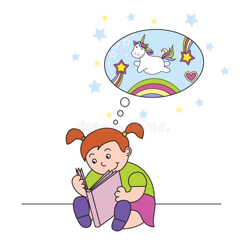 vectorillustratiemeisje die een boek lezen en van een leuke eenhoorn dromen stock illustratie