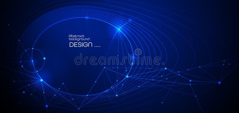Vectorillustratiemolecule, Verbonden lijnen met punten, technologie op blauwe achtergrond Het abstracte Internet-ontwerp van de n vector illustratie