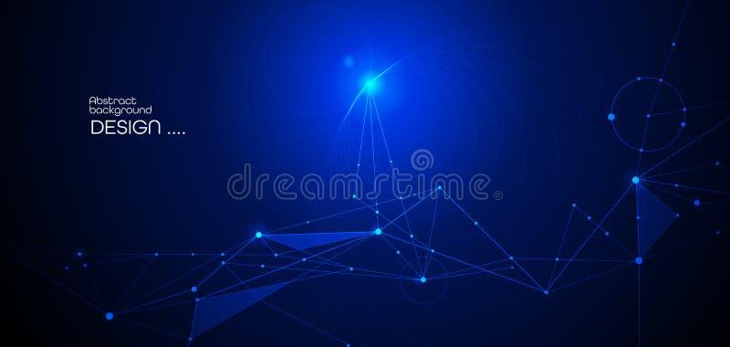 Vectorillustratiemolecule, Verbonden lijnen met punten, technologie op blauwe achtergrond Het abstracte Internet-ontwerp van de n stock illustratie
