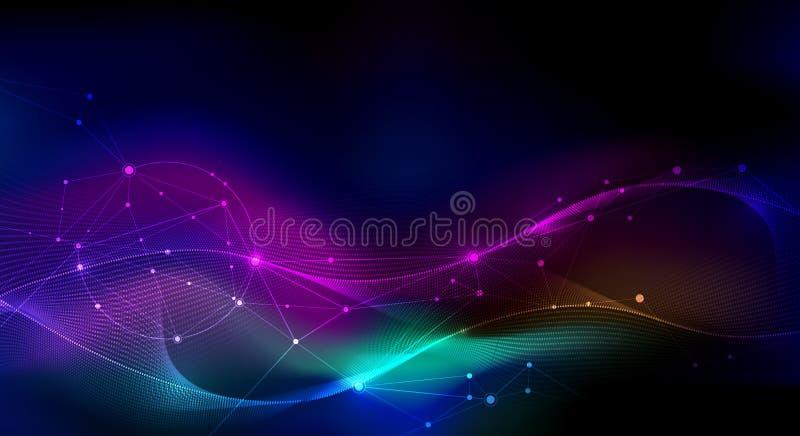 Vectorillustratiemolecule, Verbonden lijnen met punten, technologie op blauwe achtergrond Het abstracte Internet-ontwerp van de n royalty-vrije illustratie