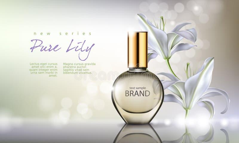 Vectorillustratieparfum in een glasfles op een achtergrond met luxueuze witte lelie stock illustratie