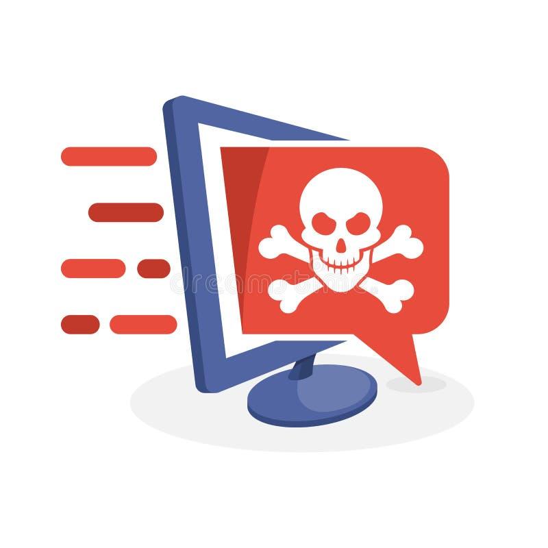 Vectorillustratiepictogram met digitaal media concept over gevaarlijke die inhoudsinformatie, computer door hakkers binnendrongen stock illustratie