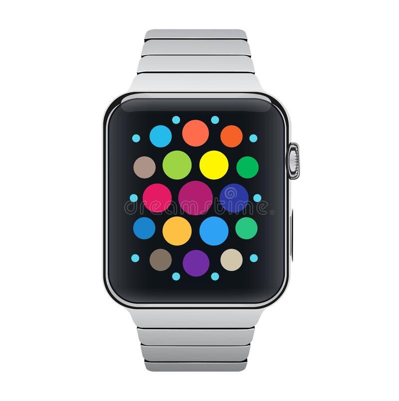 Vectorillustratiepictogram van het staal slim horloge van het aluminiummetaal met eenvoudige interface Vector royalty-vrije illustratie