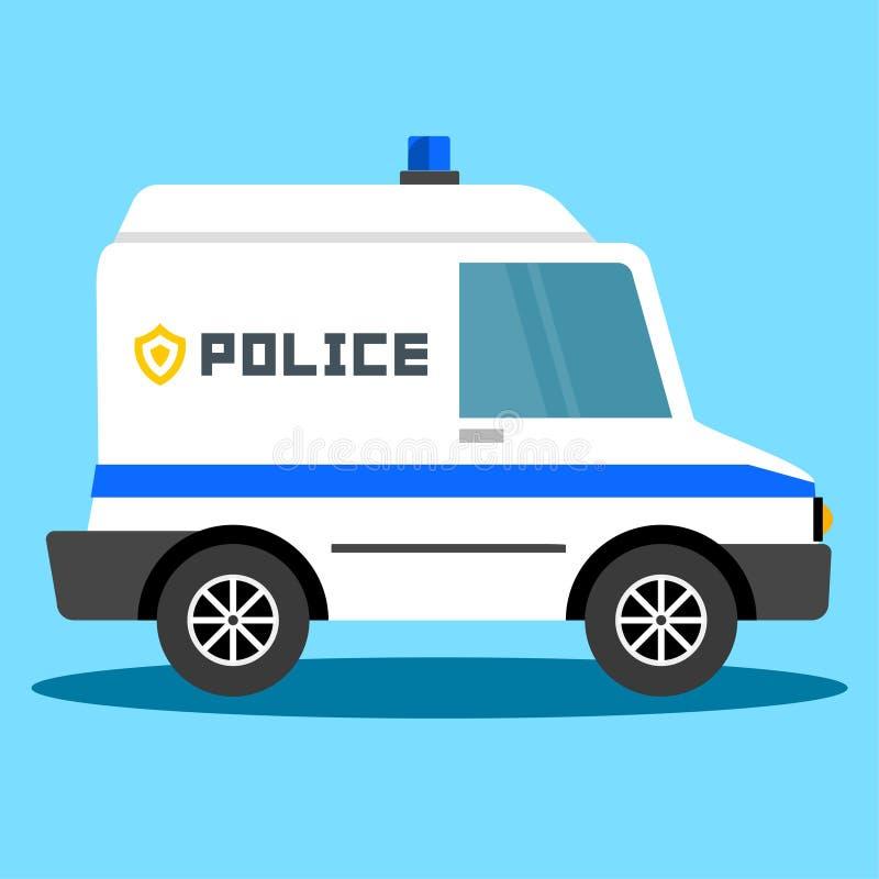 Vectorillustratiepolitiewagen Politie autonoodsituatie De evacuatie van het politievoertuig vector illustratie