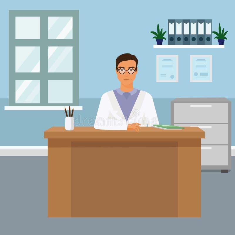 Vectorillustratieportret van knappe jonge mannelijke arts bij zijn bureauzitting bij het bureau en het glimlachen Gelukkige arts vector illustratie