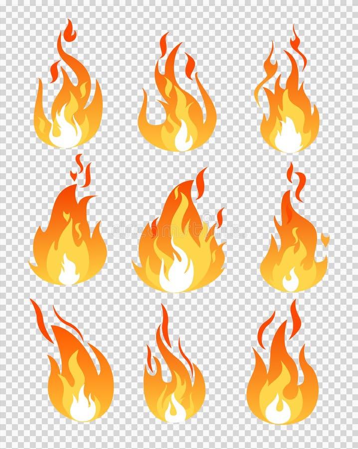 Vectorillustratiereeks de pictogrammen verschillende vormen van brandvlammen op de transparante achtergrond in vlakke beeldverhaa stock illustratie