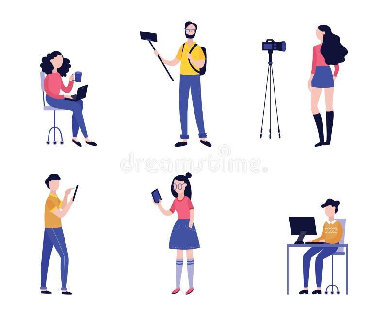 Vectorillustratiereeks diverse mensen die video met camera of mobiele telefoon registreren vector illustratie
