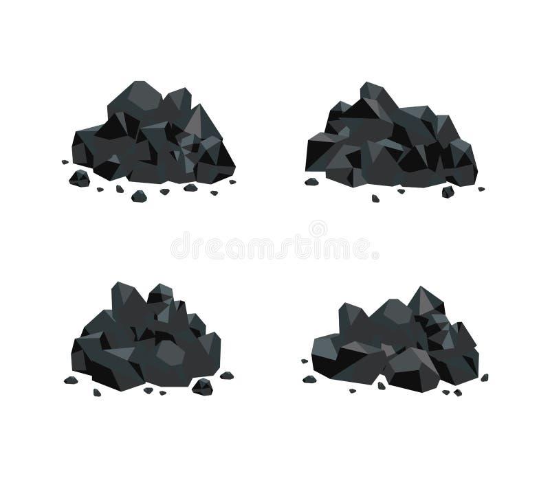 Vectorillustratiereeks diverse stapels van zwarte die steenkool op witte achtergrond wordt geïsoleerd stock illustratie