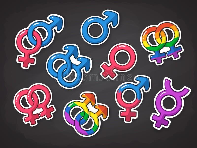 Vectorillustratiereeks geslachtssymbolen Pictogrammen van mannen, vrouwen, heteroseksuelen, transsexueel, homosexueel en lesbienn stock illustratie