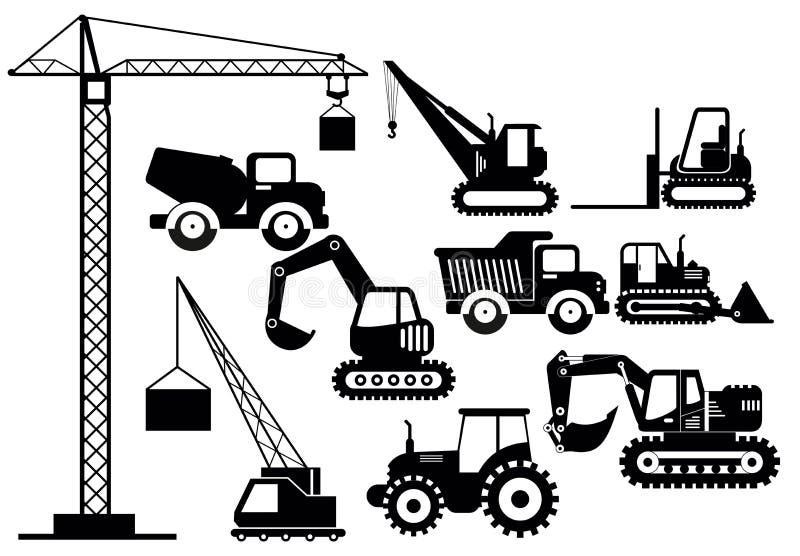 Vectorillustratiereeks graafwerktuigen en zware pictogrammen van bouwmachines Het materiaal van de silhouetillustratie en royalty-vrije illustratie