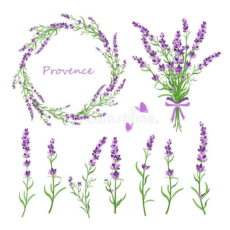 Vectorillustratiereeks lavendelbloemen, boeket, kroon en elementen van ontwerp voor groetkaart op wit vector illustratie