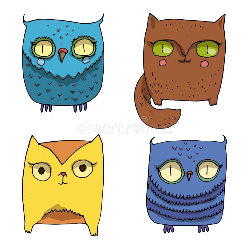 Vectorillustratiereeks leuke kawaidieren, vlakke pictogrammen Beeldverhaalvos, uil en pot in blauwe, bruine en oranjegele kleuren stock illustratie