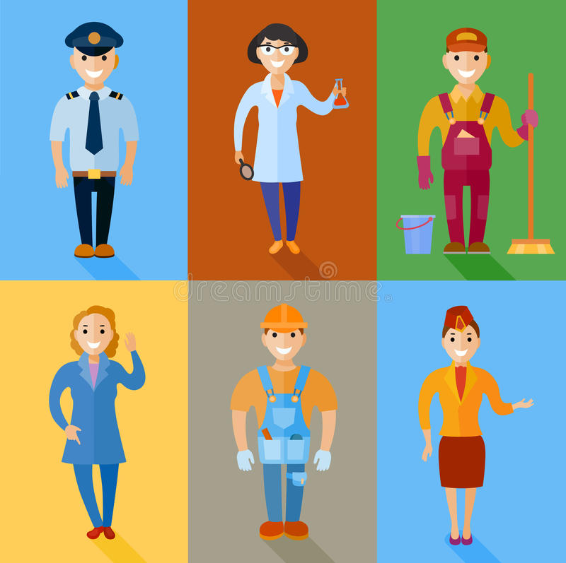 Vectorillustratiereeks mannen en vrouwen van verschillend beroep vector illustratie