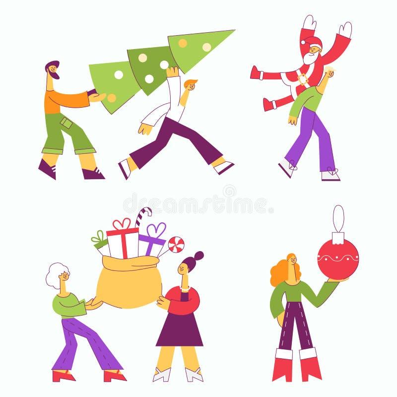 Vectorillustratiereeks mensen die Kerstmis en Nieuwjaar traditionele symbolen dragen stock illustratie