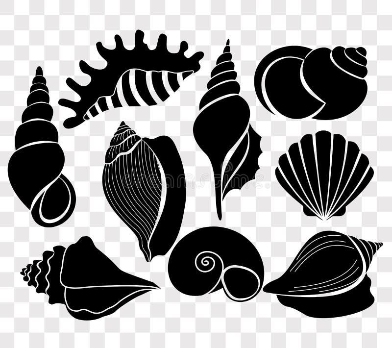 Vectorillustratiereeks mooie overzeese shells zwarte die silhouetten op transparante achtergrond wordt geïsoleerd royalty-vrije illustratie