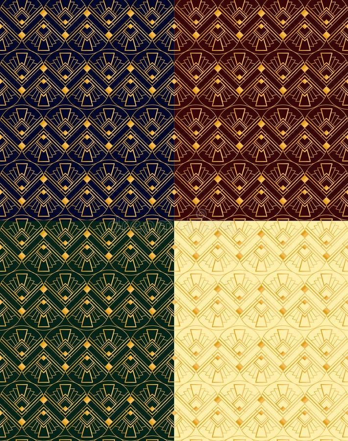 Vectorillustratiereeks naadloze gouden patronen in art deco uitstekende, retro stijl op verschillende kleurenachtergronden stock illustratie