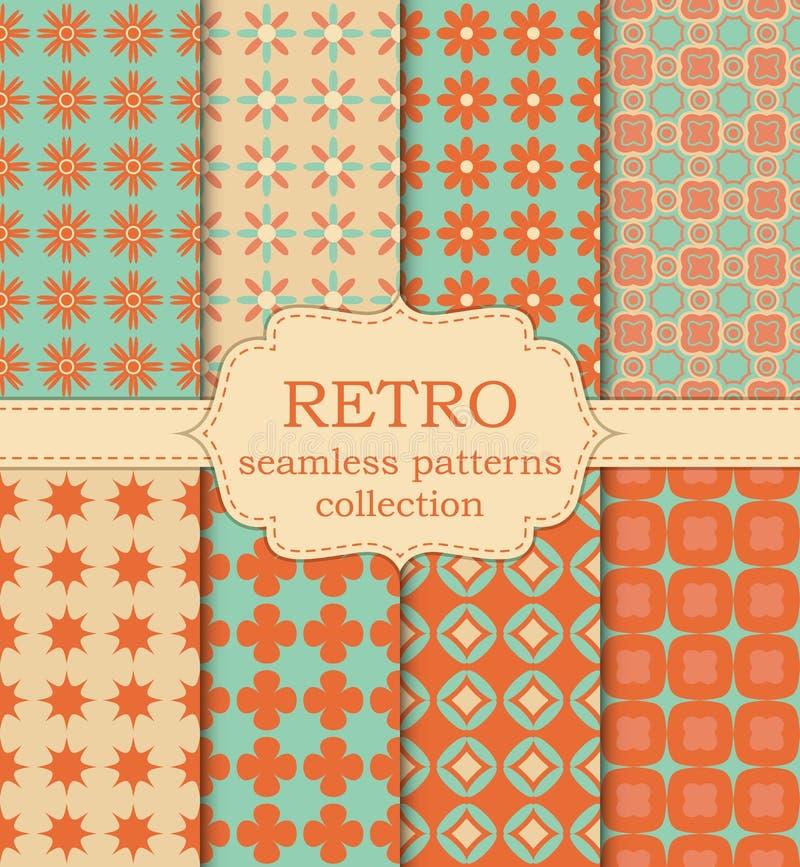 Vectorillustratiereeks naadloze retro patronen royalty-vrije illustratie