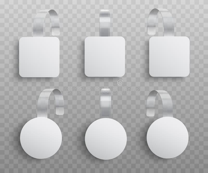 Vectorillustratiereeks realistische douane promotie reclamewobblers van ronde en vierkante vormen stock illustratie
