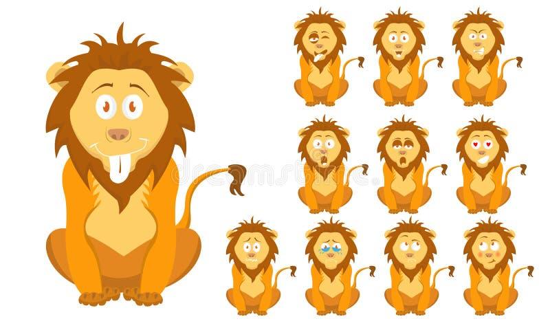 Vectorillustratiereeks van grappig beeldverhaal weinig bruine wilde leeuw met gelaatsuitdrukkingen vector illustratie