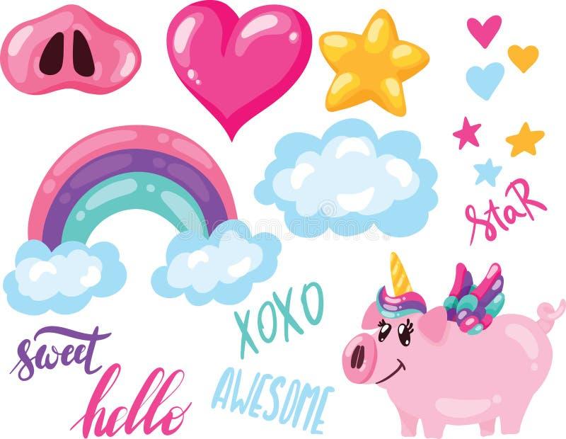 Vectorillustratiereeks van hand getrokken leuke varkenseenhoorn met de ster van de regenboogwolk hart en het van letters voorzien vector illustratie