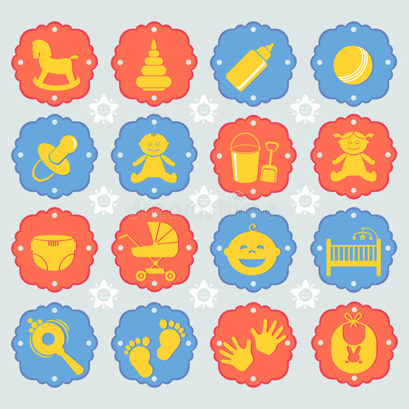 Vectorillustratiereeks van het pictogram van kinderen royalty-vrije illustratie