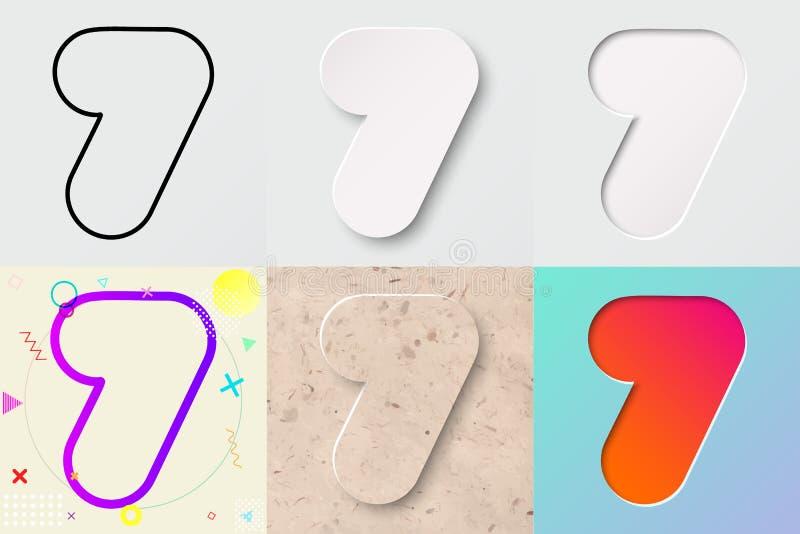 Vectorillustratiereeks van leuk gewaagd rond gemaakt nummer zeven die met verschillend gradiënteffect en transparante schaduw van stock illustratie