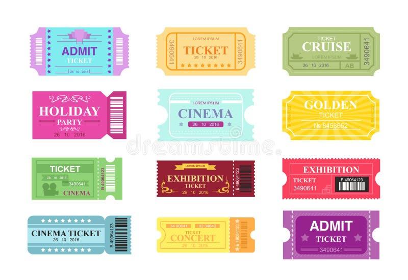 Vectorillustratiereeks van verschillende filmkaartjes, bioskoop en circus Kleurrijke en heldere kaartjesinzameling in vlakte royalty-vrije illustratie