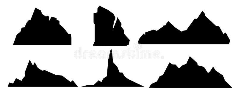 Vectorillustratiereeks zwarte en bergsilhouetten, achtergrondgrens van rotsachtige bergen op witte achtergrond in stock illustratie